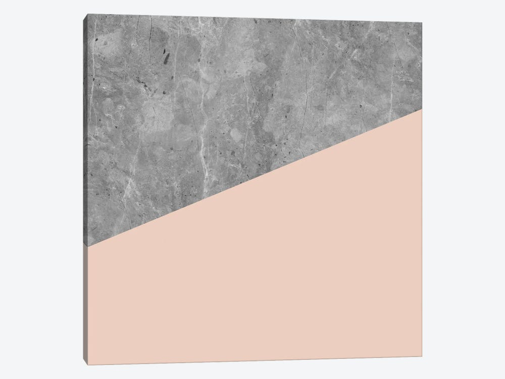Modern Geometric Concrete And Blush Millennial Pink by Nature Magick 1-piece Canvas Art Print