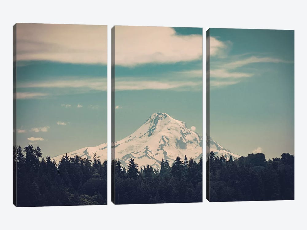 Mountain Forest Adventure Mt. Hood Oregon Turquoise Sky And Green Fir Trees Snowy Mountains Nature by Nature Magick 3-piece Canvas Artwork