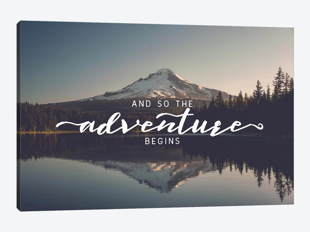 Mountain Lake And So The Adventure Begins Saying Trillium Lake Oregon Nature Forest 1-piece Canvas Art Print