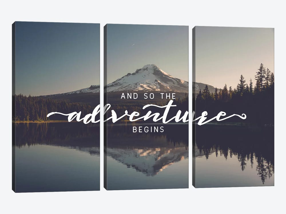Mountain Lake And So The Adventure Begins Saying Trillium Lake Oregon Nature Forest 3-piece Canvas Art Print