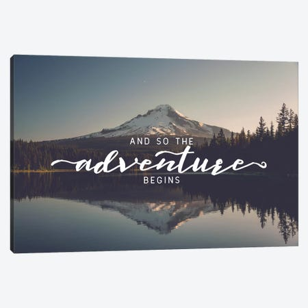 And So The Adventure Begins Saying Trillium Lake Oregon Nature Forest 3-Piece Canvas #MGK90} by Nature Magick Canvas Print