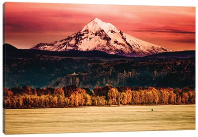 Mountain Sunset River Mt. Hood Oregon Columbia River Gorge Canvas Art Print