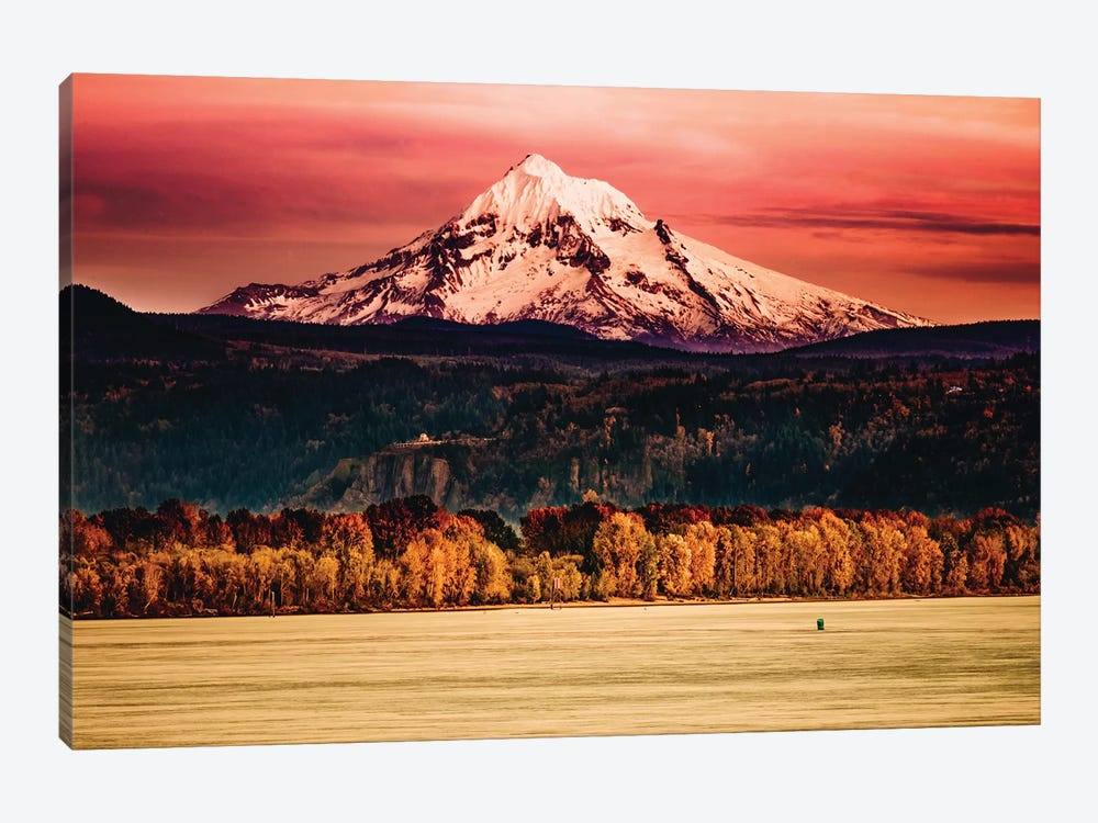 Mountain Sunset River Mt. Hood Oregon Columbia River Gorge 1-piece Canvas Print