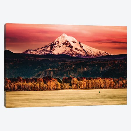 Mountain Sunset River Mt. Hood Oregon Columbia River Gorge Canvas Print #MGK92} by Nature Magick Canvas Art Print