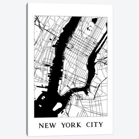 New York City Map Print Minimalist Street Map Black And White Graphic Canvas Print #MGK95} by Nature Magick Canvas Artwork