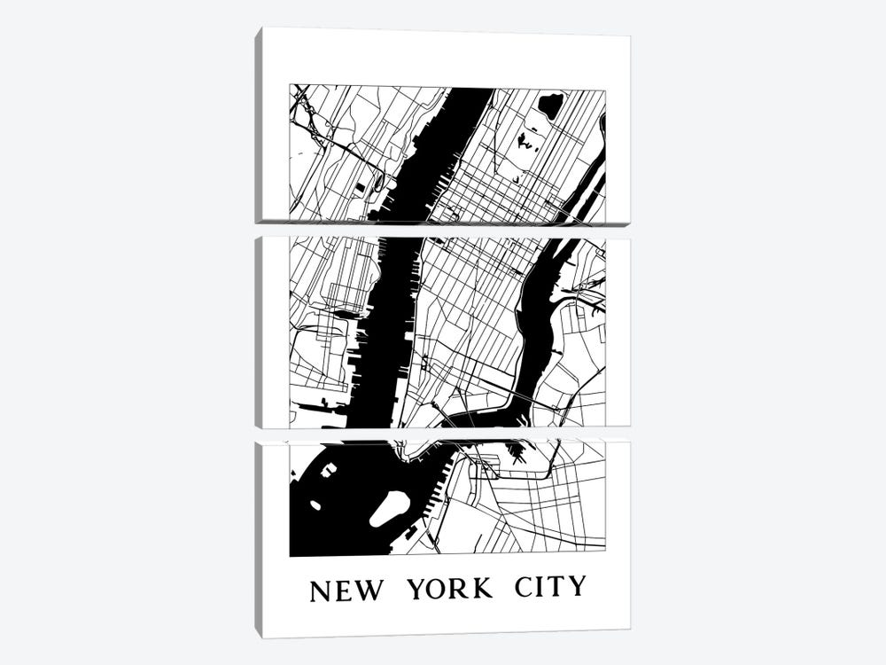 New York City Map by Nature Magick 3-piece Canvas Wall Art