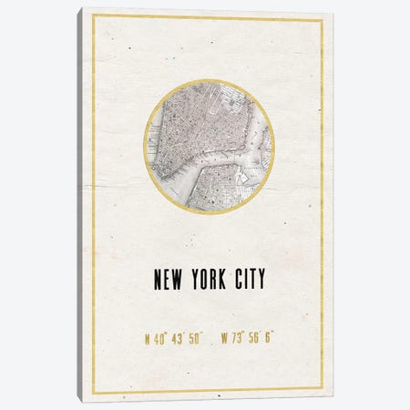 New York City Map Print Vintage Street Map Minimalist Bronze Gold Copper And Black Longitude Latitude Coordinates Canvas Print #MGK97} by Nature Magick Canvas Art