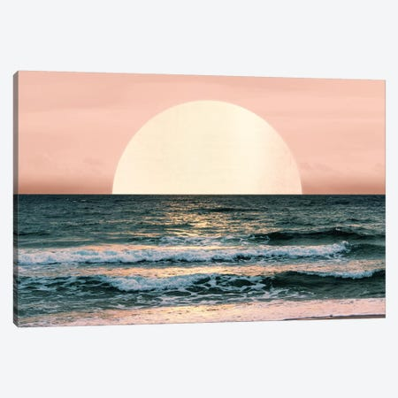 Ocean Beach Sunset Sea Waves Tropical Summer Nature Pink And Turquoise Blue Canvas Print #MGK99} by Nature Magick Art Print