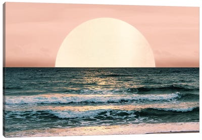 Ocean Beach Sunset Sea Waves Tropical Summer Nature Pink And Turquoise Blue Canvas Art Print