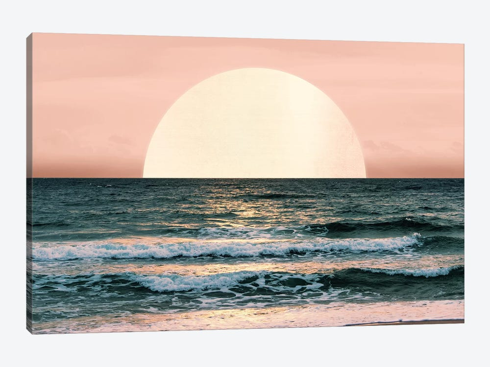 Ocean Beach Sunset Sea Waves Tropical Summer Nature Pink And Turquoise Blue 1-piece Canvas Art