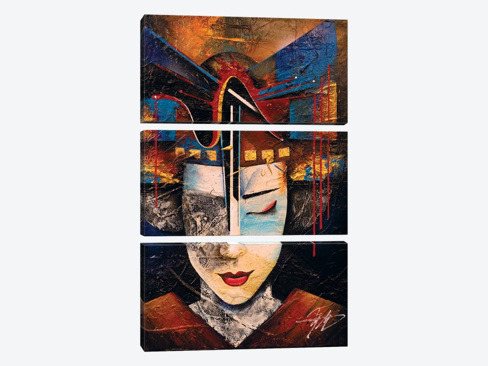 Memories Of A Geisha by Michael Goldzweig 3-piece Canvas Print