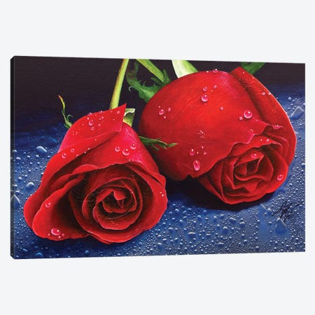 Two Roses Canvas Print #MGO90} by Michael Goldzweig Canvas Art Print