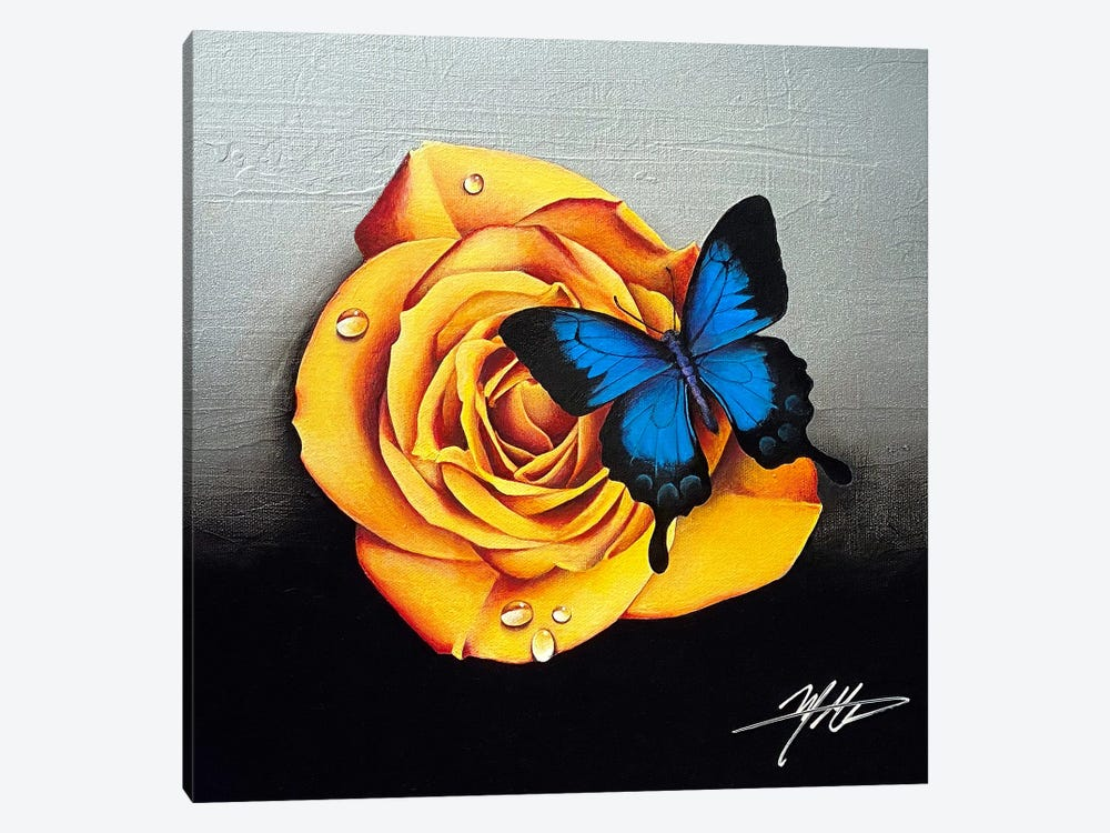 Rose And Butterfly by Michael Goldzweig 1-piece Art Print