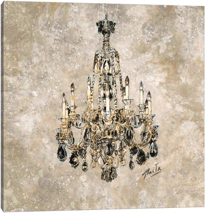 Champagne Chandelier Canvas Art Print