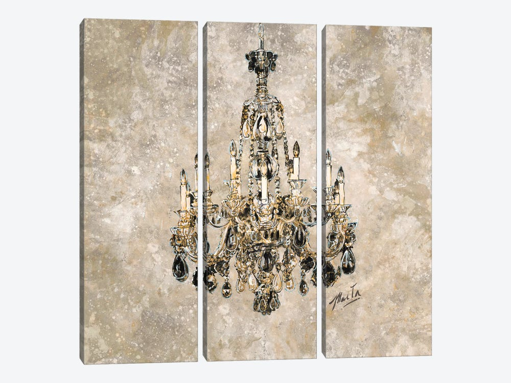 Champagne Chandelier by Marta G. Wiley 3-piece Canvas Art Print