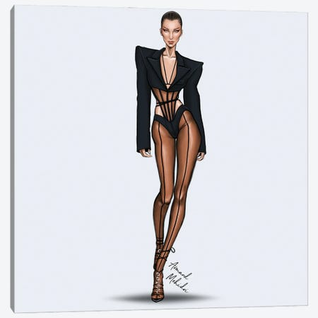 Bella Hadid, Mugler Canvas Print #MHD26} by Armand Mehidri Canvas Art