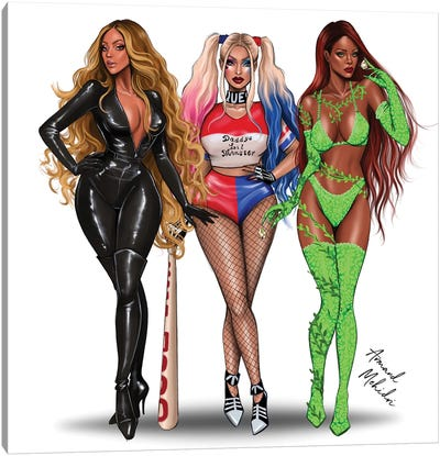Gotham City Sirens - Beyonce, Nicki Minaj, Rihanna Canvas Art Print