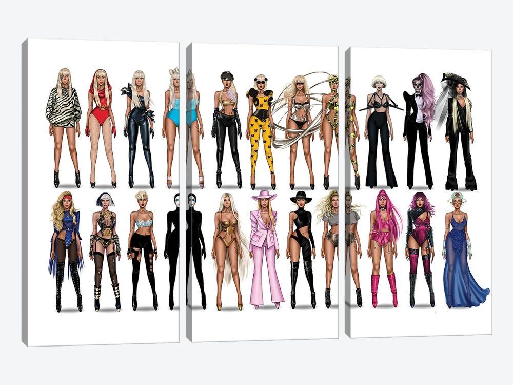 Lady Gaga Videography by Armand Mehidri 3-piece Canvas Wall Art