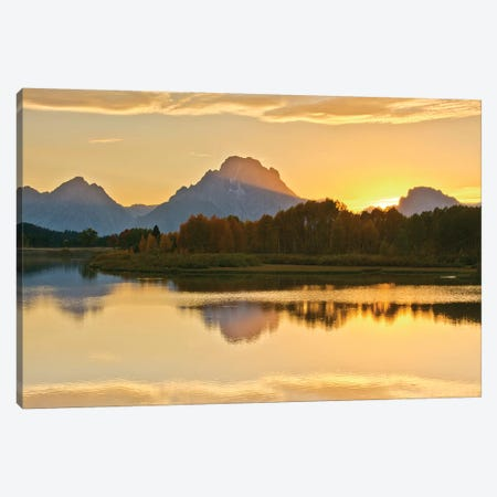 Alpenglow At Sunset, Oxbow, Grand Teton National Park, Wyoming, USA Canvas Print #MHE3} by Michel Hersen Art Print