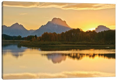 Alpenglow At Sunset, Oxbow, Grand Teton National Park, Wyoming, USA Canvas Art Print