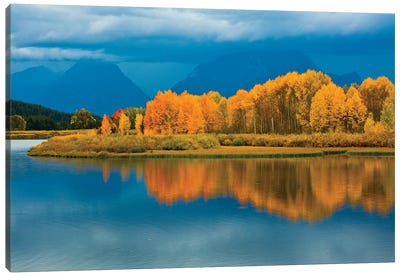 Autumn Evening, Oxbow, Grand Teton National Park, Wyoming, USA Canvas Art Print