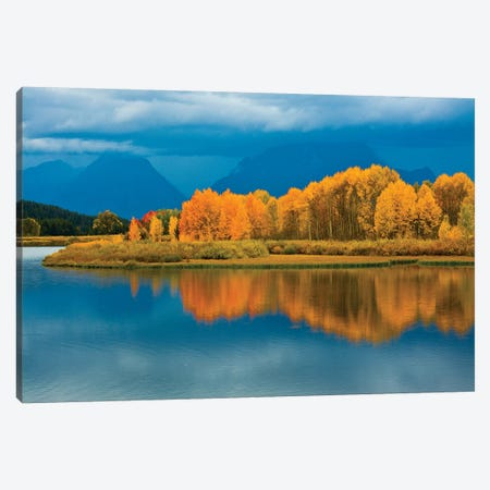 Autumn Evening, Oxbow, Grand Teton National Park, Wyoming, USA Canvas Print #MHE4} by Michel Hersen Canvas Wall Art