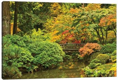 Autumn, Moon Bridge, Portland, Oregon, Usa Canvas Art Print