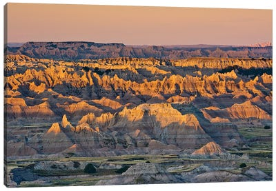 Illuminated Buttes, Sunrise, Pinnacles Viewpoint, Badlands National Park, South Dakota, Usa Canvas Art Print