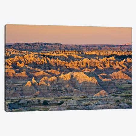 Illuminated Buttes, Sunrise, Pinnacles Viewpoint, Badlands National Park, South Dakota, Usa Canvas Print #MHE7} by Michel Hersen Canvas Wall Art