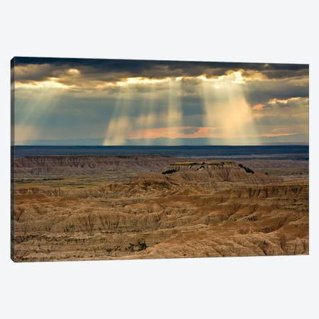 Storm at sunset, Pinnacles Viewpoint, Badlands National Park, South Dakota, USA Canvas Print #MHE8} by Michel Hersen Art Print