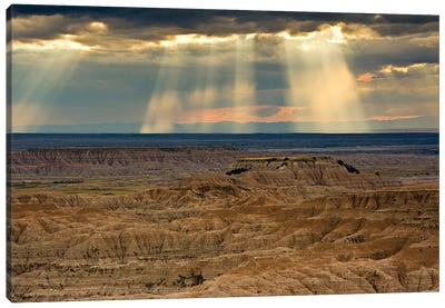 Storm at sunset, Pinnacles Viewpoint, Badlands National Park, South Dakota, USA Canvas Art Print