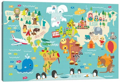 Children's World Map Canvas Art Print