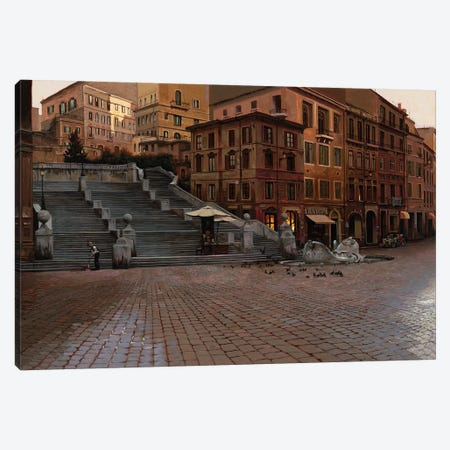 Spanish steps Canvas Print #MHM106} by Maher Morcos Canvas Art Print