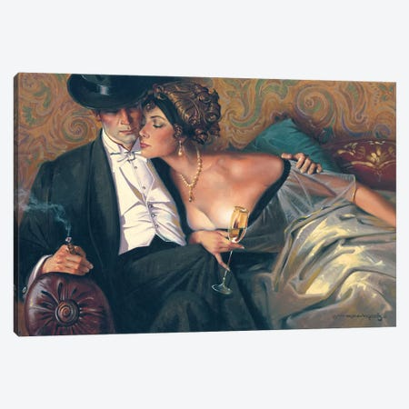 The French Lovers Canvas Print #MHM115} by Maher Morcos Canvas Art