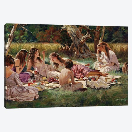 The Picnic Canvas Print #MHM118} by Maher Morcos Art Print
