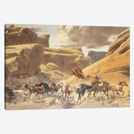 Through The Canyon Canvas Print #MHM125} by Maher Morcos Art Print