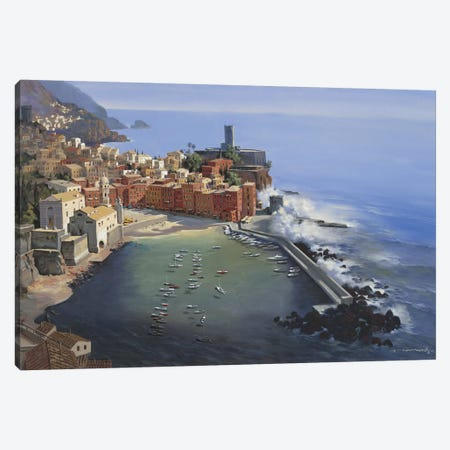 Vernazza Canvas Print #MHM134} by Maher Morcos Canvas Art
