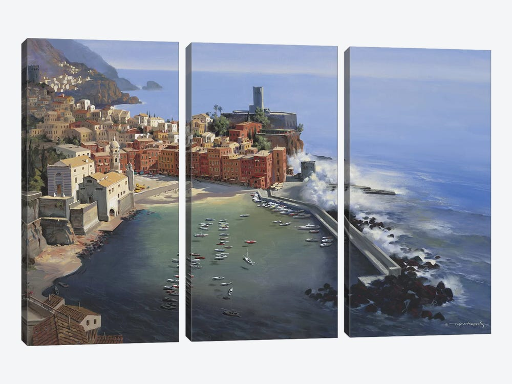 Vernazza by Maher Morcos 3-piece Canvas Art Print