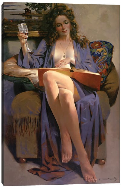 Woman Reading Book Canvas Art Print