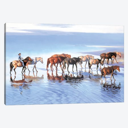 Early Morning Paddle Canvas Print #MHM29} by Maher Morcos Canvas Wall Art
