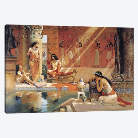 Egyptian Bathers Canvas Print #MHM31} by Maher Morcos Canvas Art Print