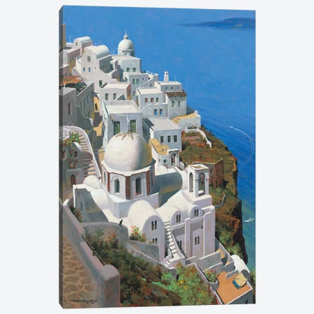 Hot Day In Santorini Canvas Print #MHM49} by Maher Morcos Canvas Art