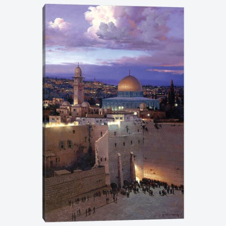Jerusalem Sunset Canvas Print #MHM54} by Maher Morcos Canvas Artwork