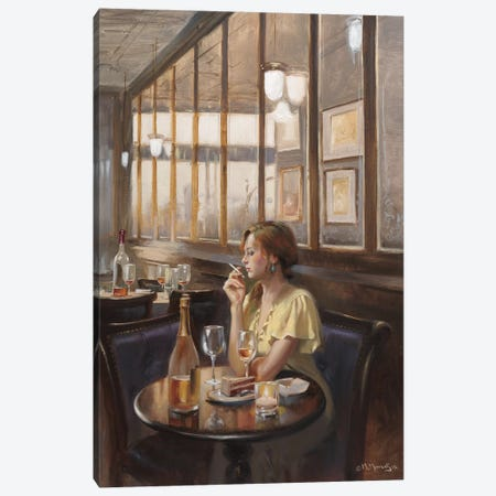 Lonely Table Canvas Print #MHM58} by Maher Morcos Art Print