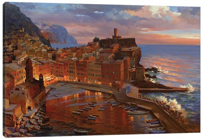 Night Begin At Vernazza Canvas Art Print