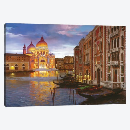 Night In Venice Canvas Print #MHM77} by Maher Morcos Canvas Wall Art