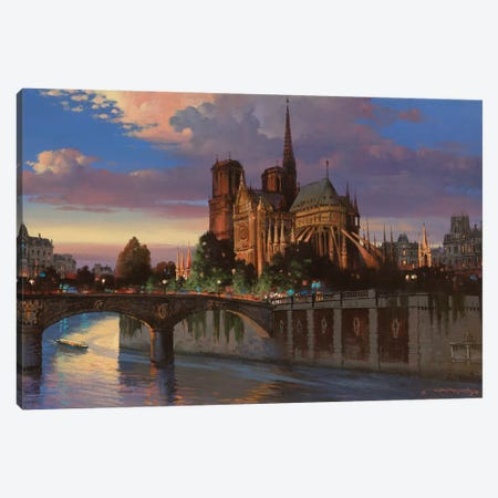 Notre Dame De Paris Canvas Print #MHM79} by Maher Morcos Canvas Print