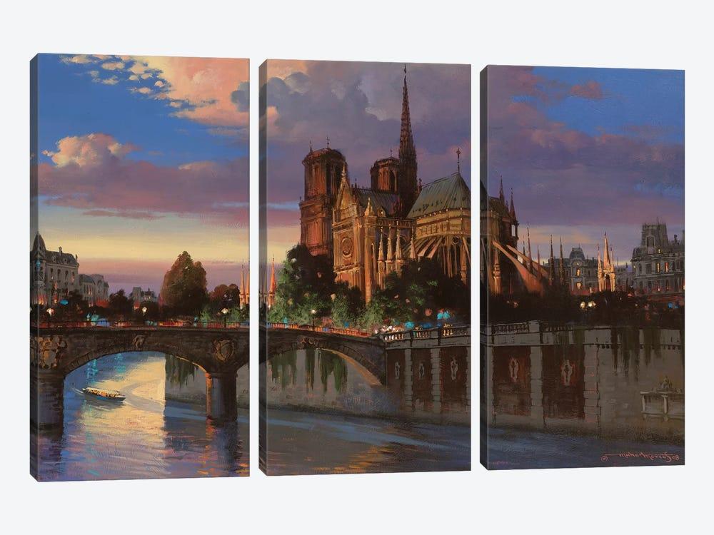 Notre Dame De Paris by Maher Morcos 3-piece Canvas Print