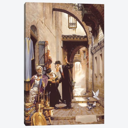 Old Friends At Via Deloresa Canvas Print #MHM81} by Maher Morcos Canvas Art