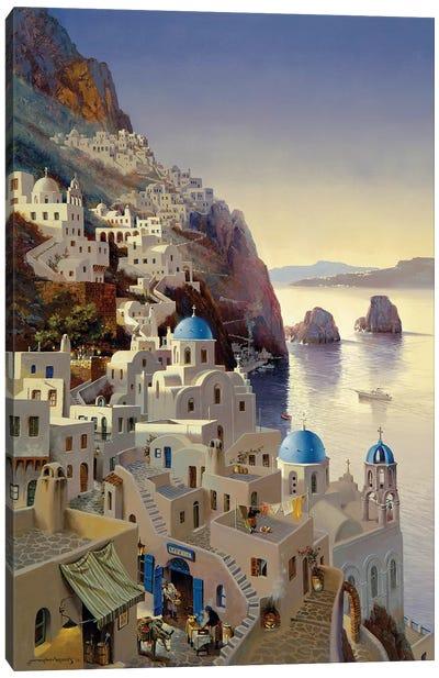Santorini At Dusk Canvas Art Print
